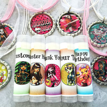 5 Pc Monster High Party Favor /Monster High Party Favors/ Lip Balm/Birthday/Birthday Girl/Monster High Chapstick/Monster High Favors