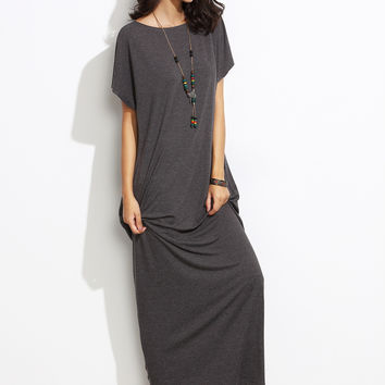 Grey Round Neck Short Sleeve Cocoon Maxi Dress