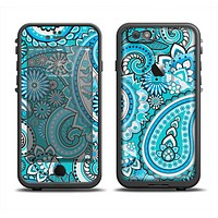 The Vibrant Blue and White Paisley Design  Apple iPhone 6 LifeProof Fre Case Skin Set