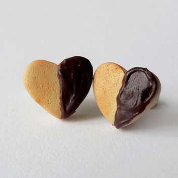 Chocolate Dipped Heart Cookie Earrings Valentine's Day Polymer Clay Jewelry