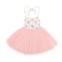 Tulle Girls Dress With Vintage Floral Dress