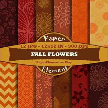 Fall Digital Paper Patterns with Flowers Instant Download Scrapbooking Backgrounds for Thanksgiving