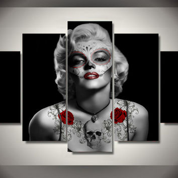 5 panel Framed Printed Day of the Dead Marilyn Monroe Painting Canvas Wall Art