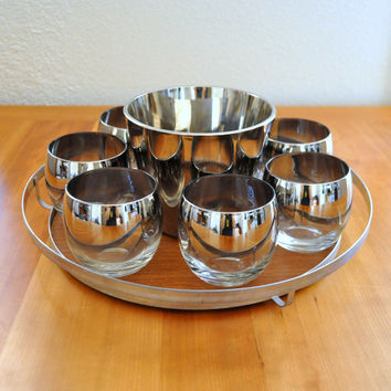 mid century silver fade bar set - roly polies, ice bucket, and tray  - queen's lustreware