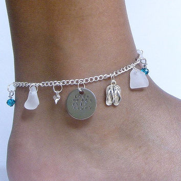 Sea Glass anklet. Love Peace Flip flops. Sea glass jewelry. Beach glass anklet