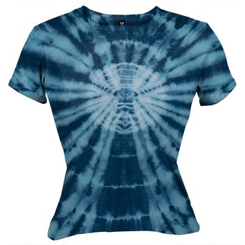 Blue Circle Burst - Juniors Babydoll T-Shirt - X-Large