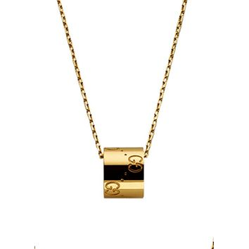 GUCCI fashion elegant men and women tide section ring pendant casual fashion necklace F-HLYS-SP gold