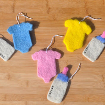 New Baby Ornament, 2 Piece Set, Baby Outfit and Bottle Ornaments, choose your color! For new parents, grandparents