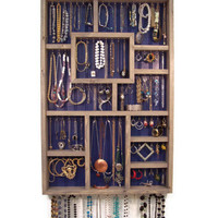 Large Gray and Blue Jewelry Wall Display