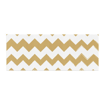 "KESS Original ""Candy Cane Gold"" Chevron Bed Runner"