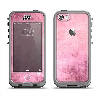 The Pink Grungy Surface Texture Apple iPhone 5c LifeProof Nuud Case Skin Set