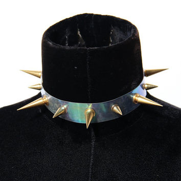 Transparent iridescent collar with gold long spikes choker 90's grunge cyber clubkid
