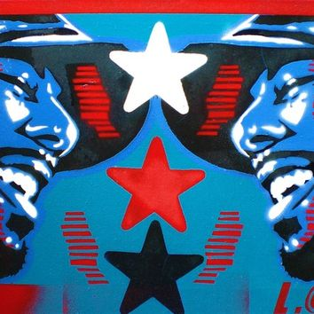 Common allstar,stencil art painting,graffiti art,urban art,canvas,Chicago,hip hop paintings,red,white,blue,music,soul,pop art,America,iconic