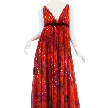 Extraordinary 1960s Sequin & Silk Plunging Travilla Gown