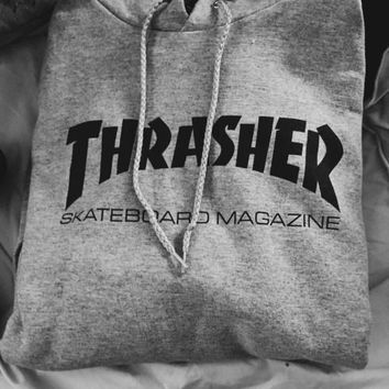"""Thrasher""New flame thickening hoodies sweater Two lines of letters Grey"