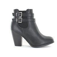 Urban Heels Women's shoe SWIFT-03 Buckled Strap with Side Zip Chunky heel Ankle Booties