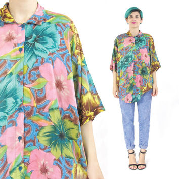 80s Tropical Floral Print Shirt Slouchy Tropical Shirt Womens Short Sleeve Shirt Button Down Sheer Cotton Shirt Hawaiian Blouse (L/XL)