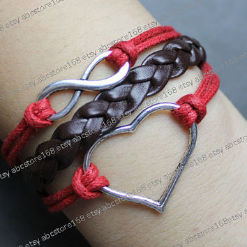 Infinity Bracelet-silver karma bracelet-love bracelet-red rope, brown braided leather bracelet