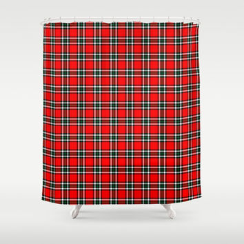 red plaid shower curtain by kat mun from society6 shower