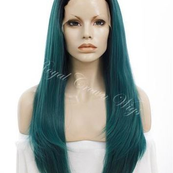 """24 inch Heat Safe Synthetic Straight Texture Lace Front """"Aphrodite"""" in Rooted Dark Green"""