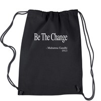 Be The Change Gandhi Quote  Drawstring Backpack