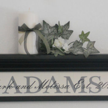 """Wedding Gift, Established Sign, Personalized Family Name Sign, Date and Year, Home Decor Gift, - 24"""" Black Shelf / Sign"""