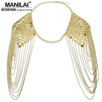 Punk Body Chain Necklaces Collar Shoulder Chain Long Necklaces & Pendants