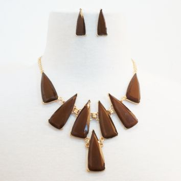 Geometric Saber Tooth Necklace & Earrings Set
