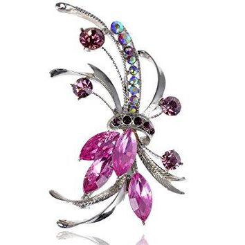 Alilang Silver Tone Purple Pink Rhinestones Floral Bouquet Ribbon Brooch Pin