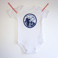 Baby Bodysuit, Baby Girls Bodysuit, Dutch Baby Clothing, Delft Blue Girls Onesuit,  Perfect Shower Gift, Made in Holland