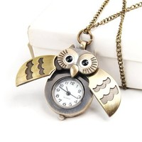 World Pride Cute Antique Owl Pocket Watch Pendant Necklace