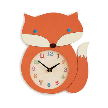 Fox Clock | wood clock, handmade, fox décor