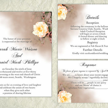DIY Wedding Invitation Template Set Editable Word File Instant Download Printable Floral Invitation Rose Wedding Invitation Peach Invitation