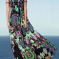 Multicolor Floral Trible African Print Spaghetti Strap Backless Sleeveless Fashion Boho Maxi Dress