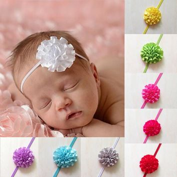Retail 1pcs Hair accessory Newborn Baby Girls Mini Chiffon Satin Flowers Carnation Flower Kids headbands hair band