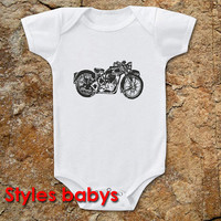 motorcycle parody baby one piece infant cute funny small tshirt For Baby 6, 12, 18 Months.