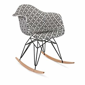 Claudia Rocking Accent Chair - Black and White - Benzara