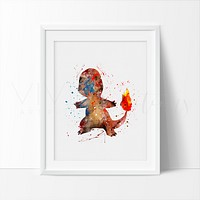 Charmander, Pokemon Go Watercolor Art Print
