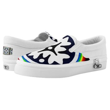 Abstract white Floral shape Slip-On Sneakers