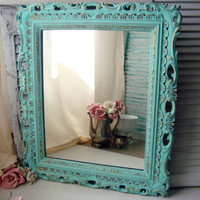 Aqua Vintage Mirror, Beach Cottage Ornate Mirror with Gold Detail, Large Rectangle Mirror, Shabby Chic Home Decor