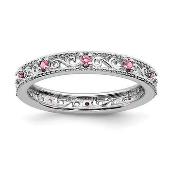 Sterling Silver Stackable Expressions Created Pink Sapphire Filigree Ring