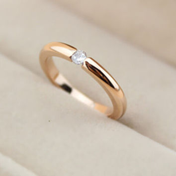 womens 18k rose gold ring with best gift-120