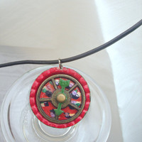 Red Necklace, Red and Green Necklace, Spinning Arrow Necklace, Movable Spinner Pendant, Green Arrow Necklace