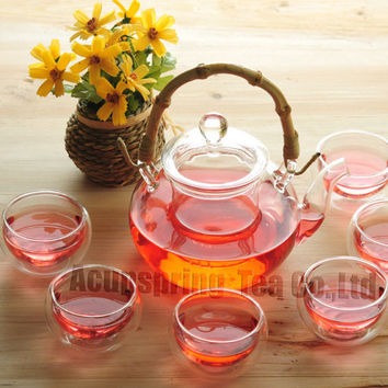 Heat Resistance 600ml Glass Coffee/Tea Pot+ 6 Cups,Pyrex Teaset,Bamboo Handle,suitable for Puer, Black Tea,Oolong, Tieguanyin,