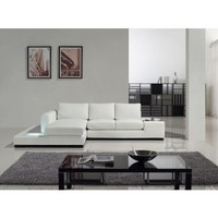Tosh Furniture Modern Compact Full Leather Sectional Sofa | Modern Furniture Warehouse