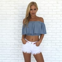Soak Up The Sun Blue Crop Top