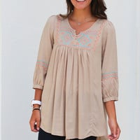 Embroidered Tribal Tunic {Taupe}