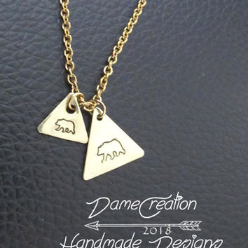 Hand Stamped Jewelry Mama Bear, Mama Bear Babies Necklace, Mama Bear Family, Tiny Triangle Necklace, Mama Bear Wear, Grizzly Bear Necklace