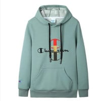 Champion Autumn Winter New Fashion Bust Embroidery Logo Letter Leisure Couple Thick Long Sleeve Hooded Sweater Top Green
