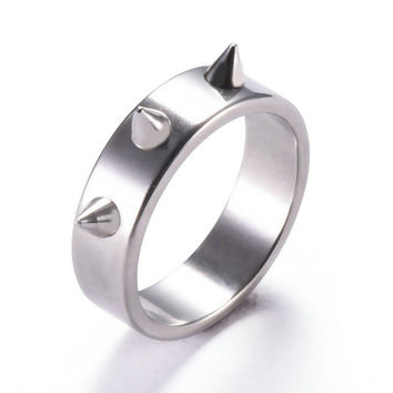 Ring Top Sharp Stainless Steel Knuckle Gothic Ring For Men Fight Ring Combat Races